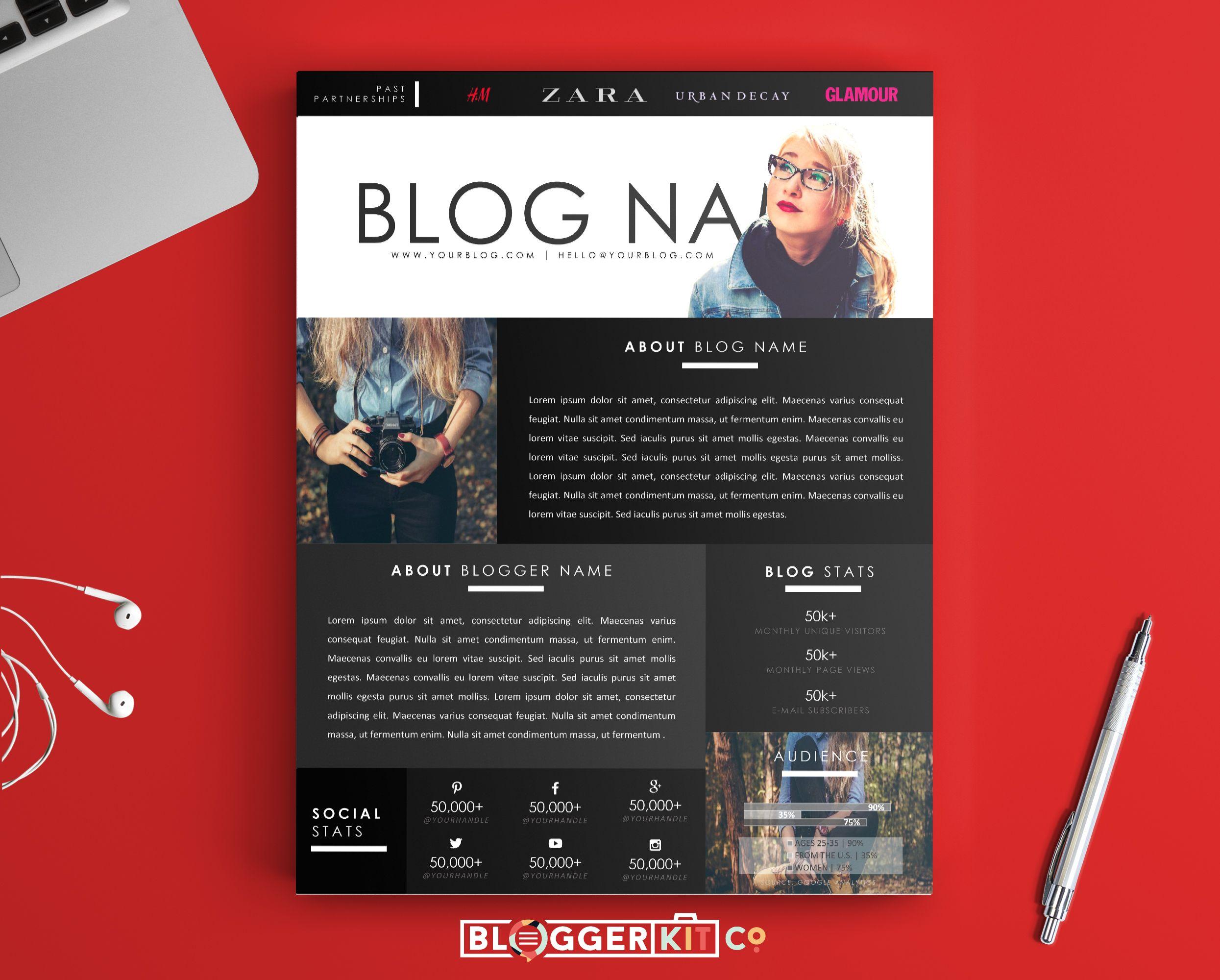 The Dreamer OnePage Media Kit Template  Blogger Kit Co