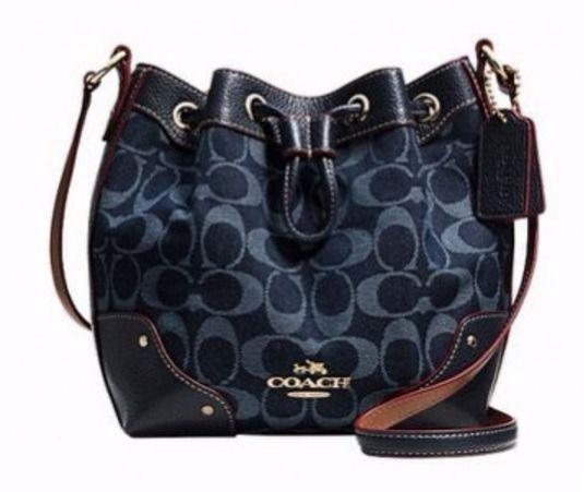 ... uk coach 37227 baby mickie drawstring bag denim jacquard nwt 350  limited ed 95aee d6573 5485cc5875