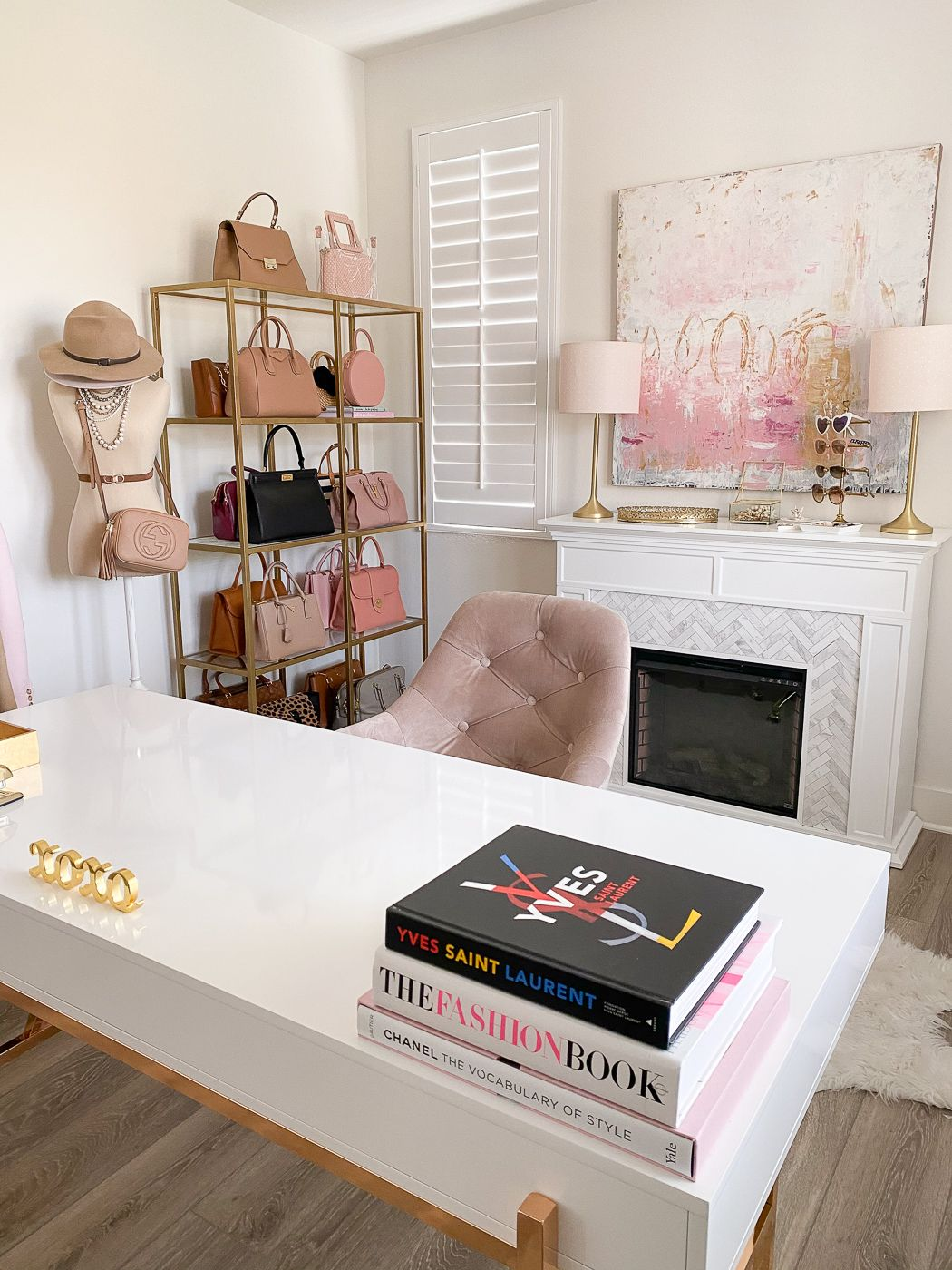 Pink Gold And White Home Office Decor Stylish Petite In 2020 Pink Home Offices Gold Office Decor Pink Office Decor