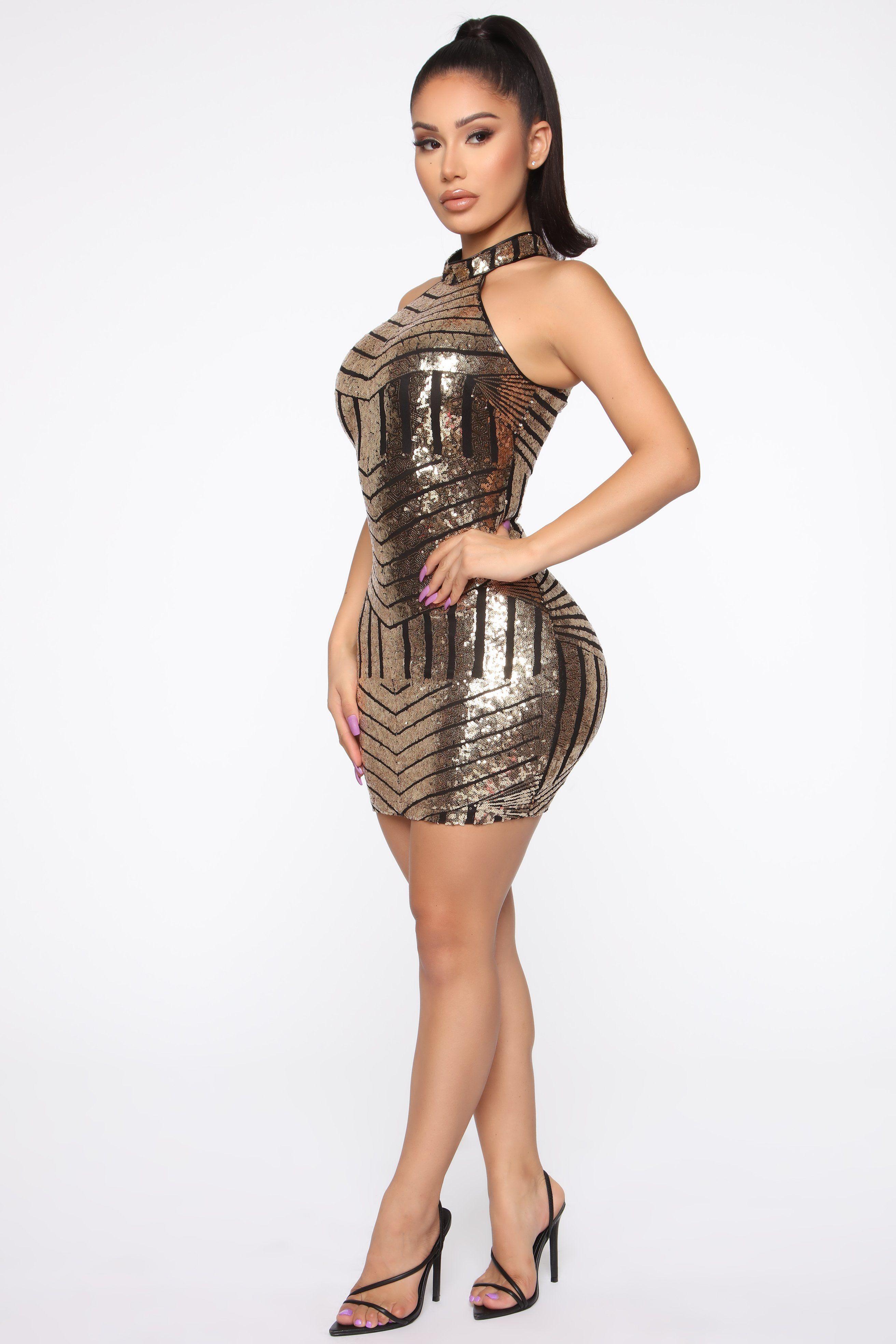 Waking Up In Vegas Sequin Mini Dress Black/Gold Mini