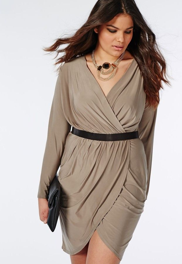 Plus Size Slinky Wrap Dress With Tulip Skirt Beige Nude Earth Tones