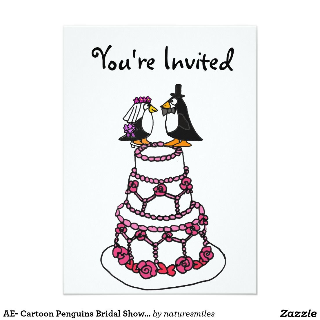 ae cartoon penguins bridal shower invitations