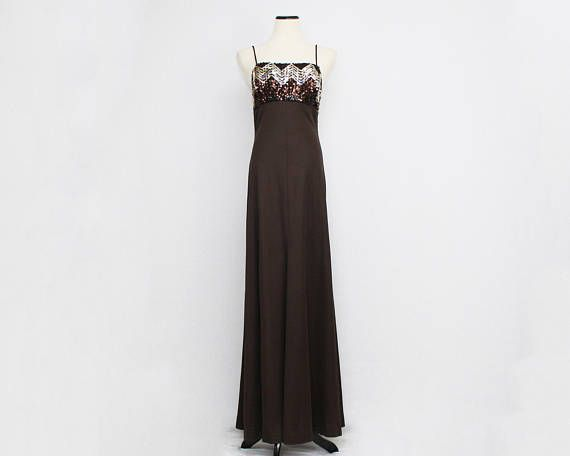 70s Sequin Evening Gown Vintage 1970s Brown Disco Maxi Dress   The ...