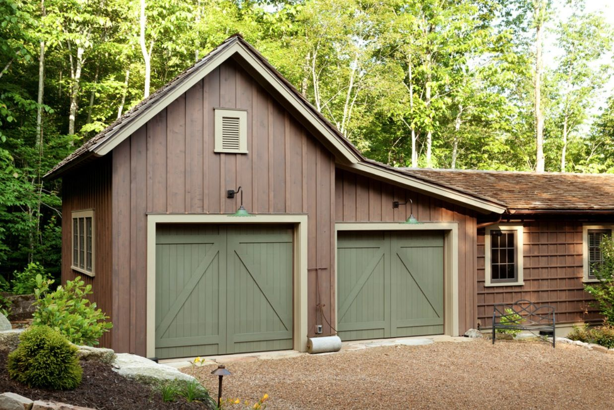 Garage with board and batten siding shed pinterest for Barn style garage kits