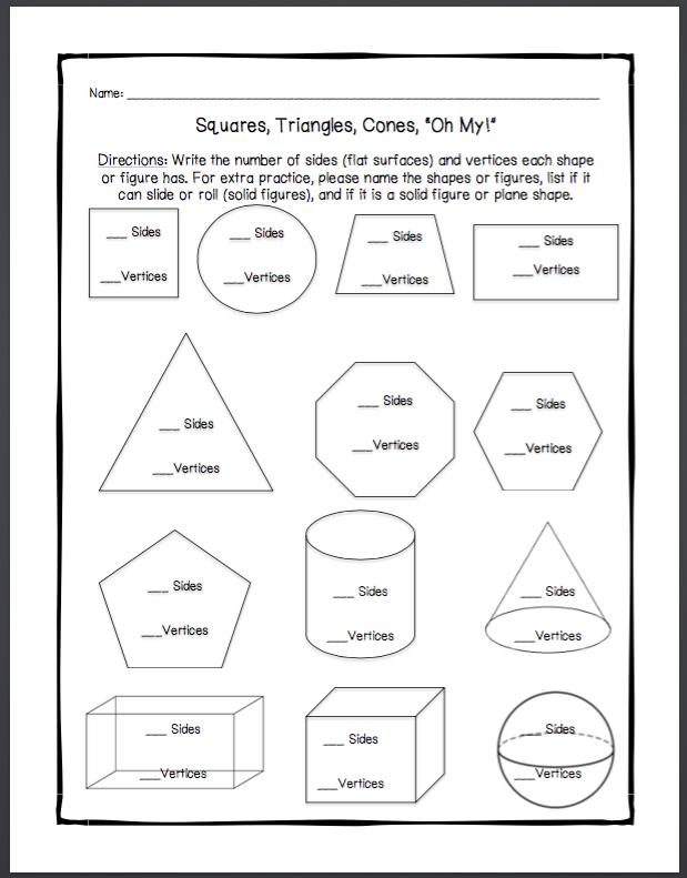 1st grade worksheet on plane shapes and solid figures math pinterest worksheets planes. Black Bedroom Furniture Sets. Home Design Ideas