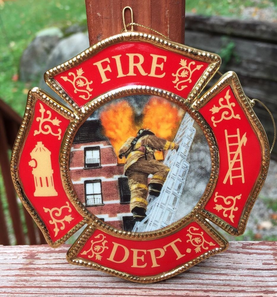 Bradford christmas ornaments - 2001 Bradford Editions Firefighter Courage Under Fire Christmas Ornament