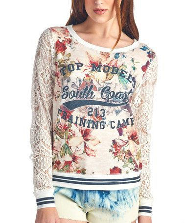Off-White 'Top Model Training Camp' Lace-Sleeve Top by Charlie Charlie #zulily #zulilyfinds
