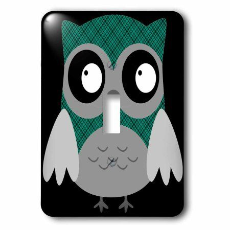 3dRose Cute Green and Black Plaid Owl, 2 Plug Outlet Cover