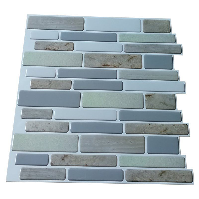 12 X 12 Plastic Peel Stick Mosaic Tile In Blue Gray Beige Bluegraybeige Fireplacetileideasgrey Mosaic Pee In 2020 Mosaic Tiles Tile Backsplash Stick On Tiles