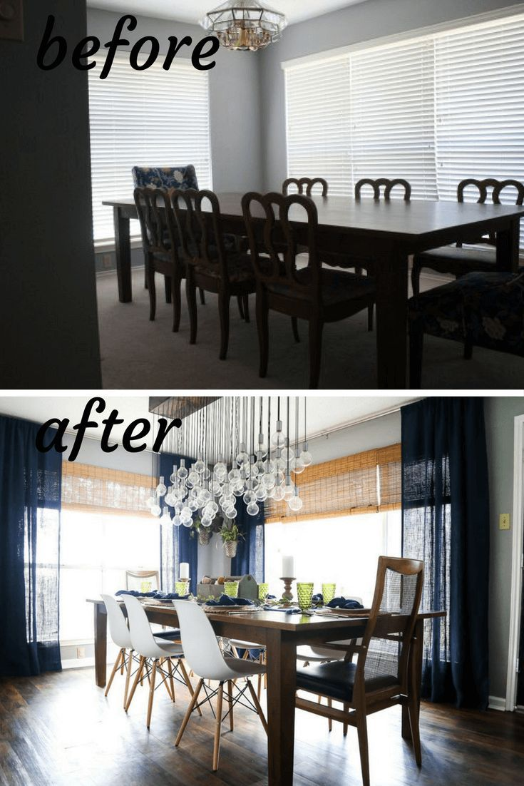 Before and after dining room makeover. A renovation with tons of
