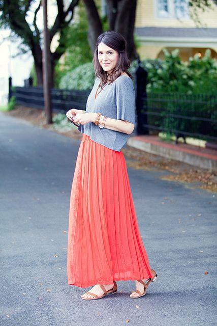 pleated skirt, boxy tshirt.