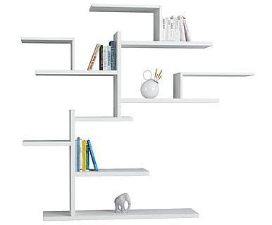 Книжный шкаф Bonsai - ДСП - белый, 161x175x25 см