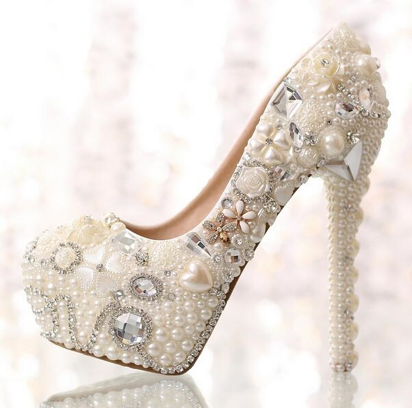 (56.05$)  Know more - http://ailo3.worlditems.win/all/product.php?id=32731940961 - Manmitu Free Shipping Rhinestone Pearls LOVE Wedding Shoes Women Platform Pumps Cowhide Diamond Bride Heels Can Customize Name