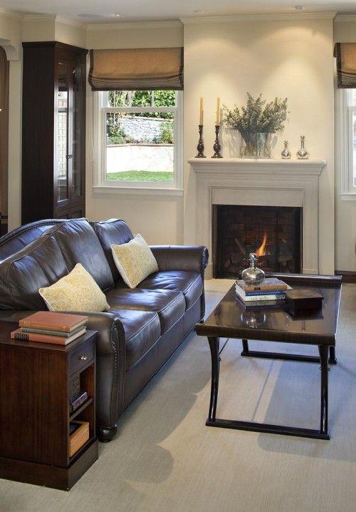 light walls with dark furniture  brown sofa living room