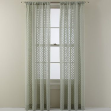 Jcp Royal Velvet Stanza Rod Pocket Sheer Panel Panel Curtains
