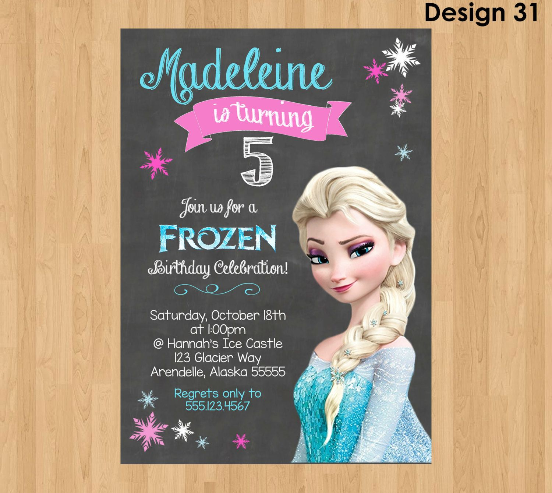 ELSA INVITATION, Frozen Chalkboard Invitation, Frozen Invitation ...