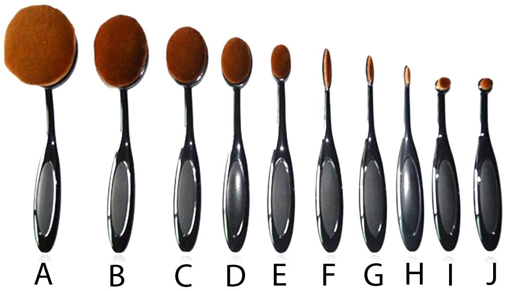 10 Piece Black and Gold Oval Brush Set Oval brush set