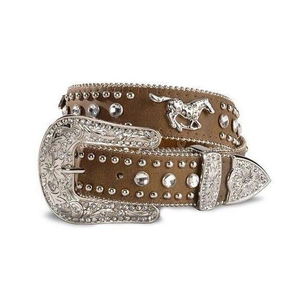 Horse in Horse Shoe Silver Rhinestone Brown Croco Embossed Leather Belt