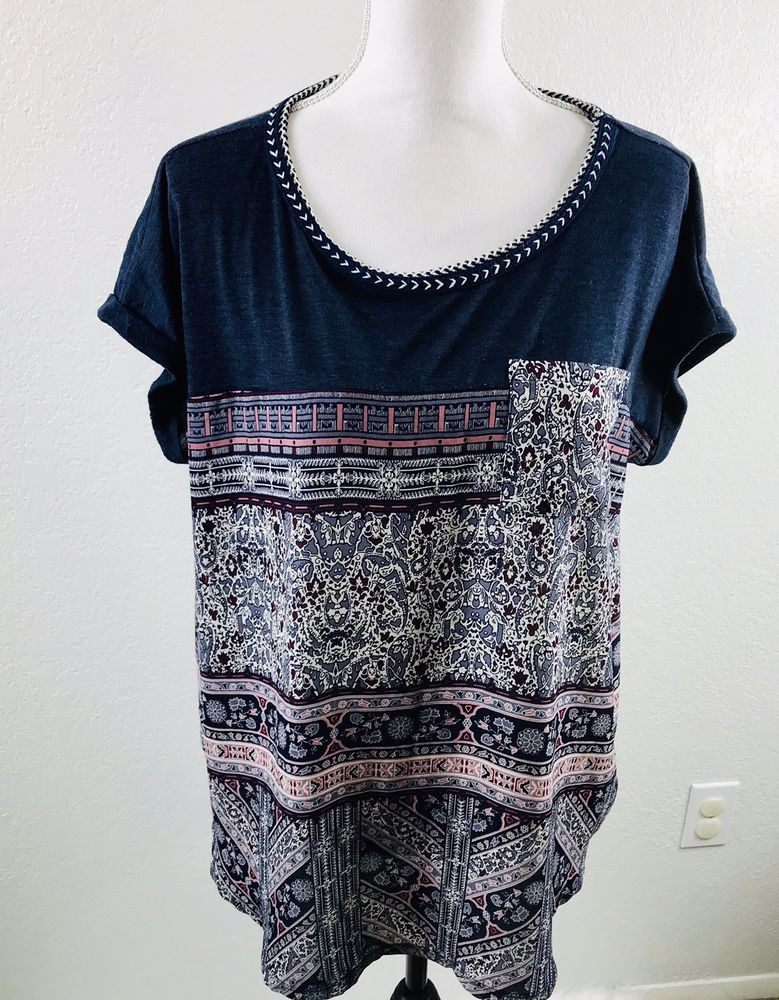 Xhilaration Blouse Woman S Plus Sz Xxl Multicolor Boho Top Floral