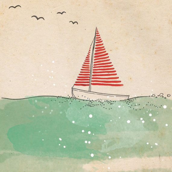 Photo of Sail away – Ink, watercolor & collage illustration print on archival paper