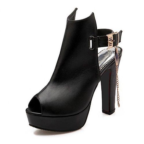 Mujer Zapatos PU Primavera / Otoño Confort Botas Tacón Cuadrado Punta cerrada Botines / Hasta el Tobillo Negro jZ9RCW
