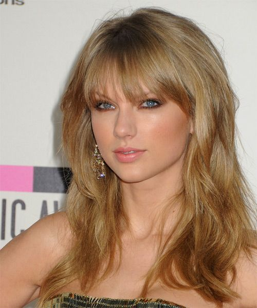 Taylor Swift Hairstyle Long Straight Casual Dark Blonde Long Hair With Bangs Hair Styles Hairstyle
