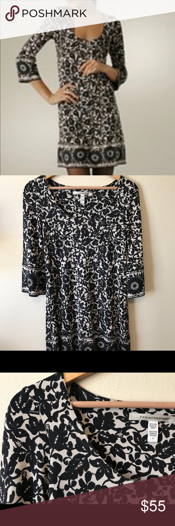 "DVF Floral Black White Laetitia Silk Shift Dress Size 2. Excellent used condition! 100% Silk. Approximate Measurements (laying flat): Bust: 16"" Length: 31 1/2"" Hips: 18 1/4"" Diane Von Furstenberg Dresses Mini"