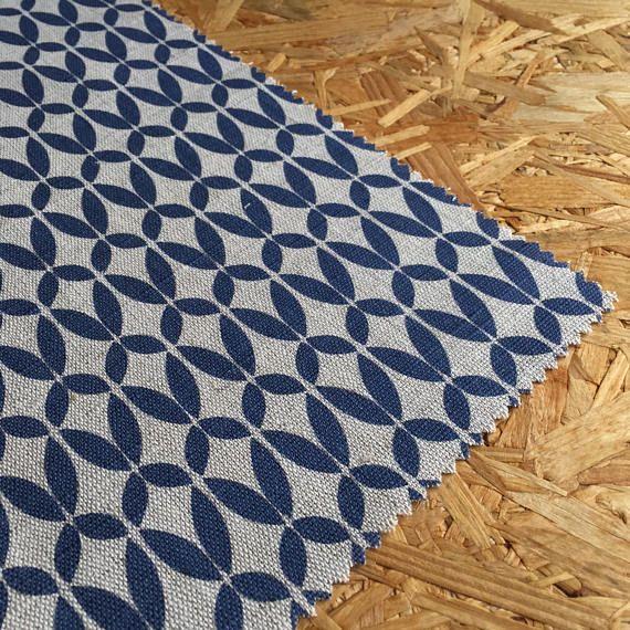 Scandinavian Linen  Navy Blue Fabric  Navy Linen  Geometric Linen  Linen  Fabric