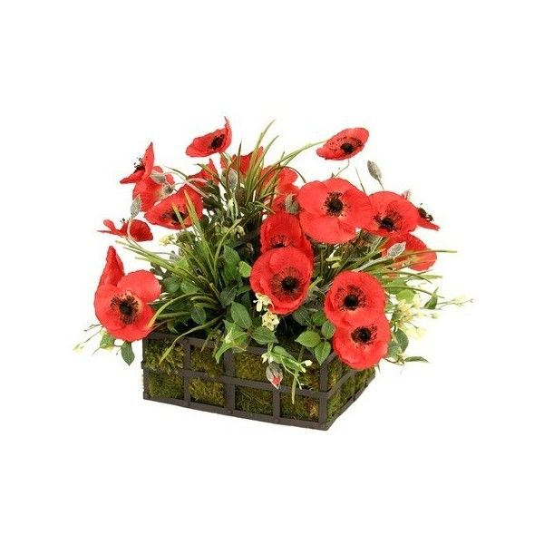 Faux poppies arrangement out of the woodwork liked on polyvore designer clothes shoes bags for women ssense poppy bouquetchurch flowersred poppiesartificial mightylinksfo