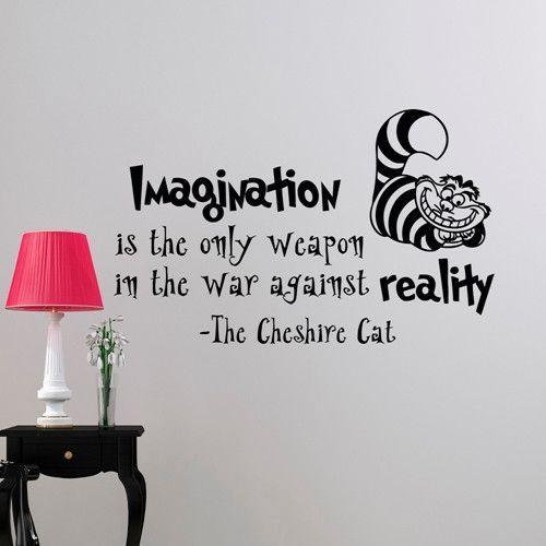 Alice In Wonderland Wall Sticker Cheshire Cat Quotes Vinyl ...
