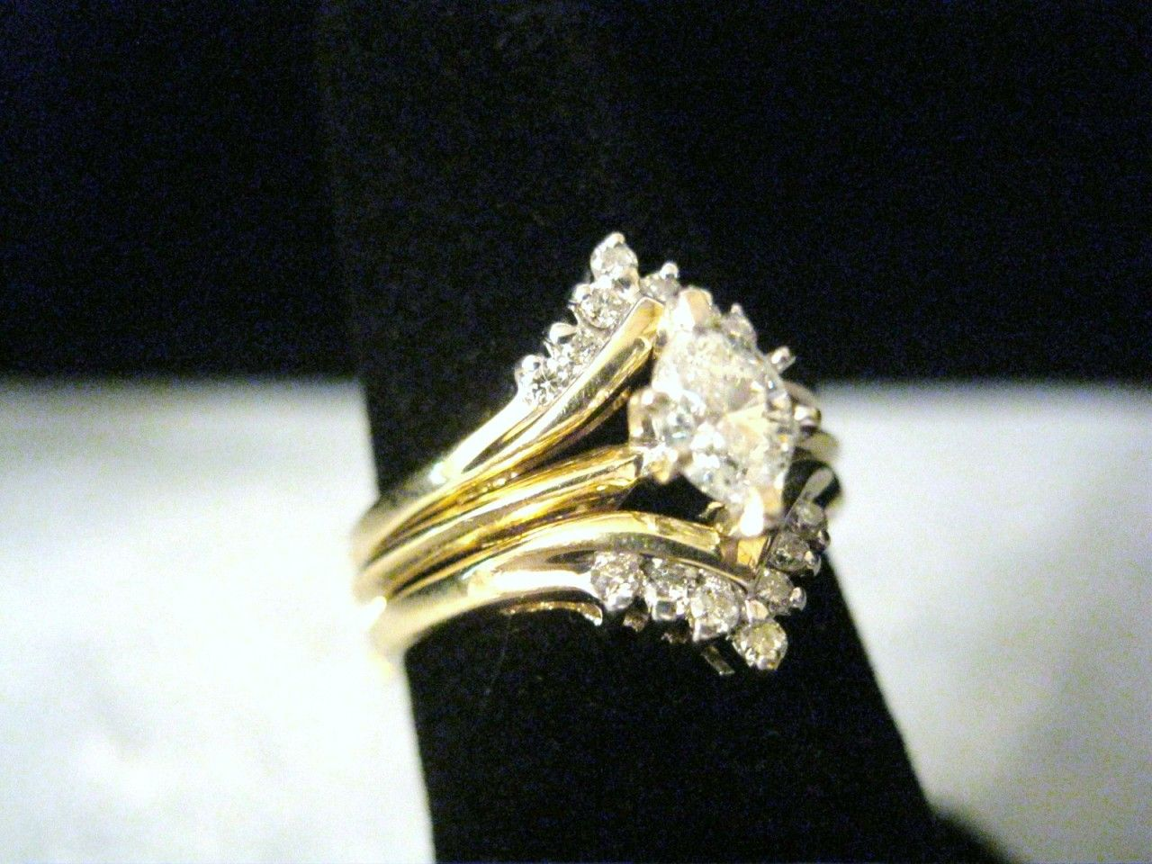 marquise ring guards YELLOW GOLD .67 CTTW. MARQUISE