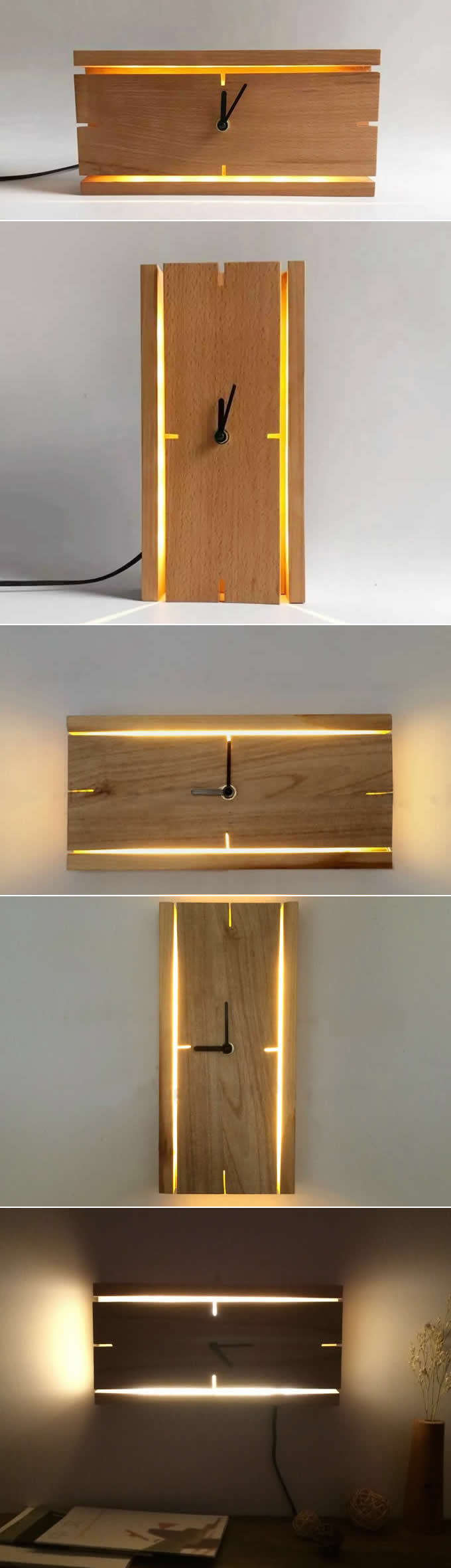 Led Wanduhren Rectangle Wooden Wall Clock With Led Night Light Diy Pinterest