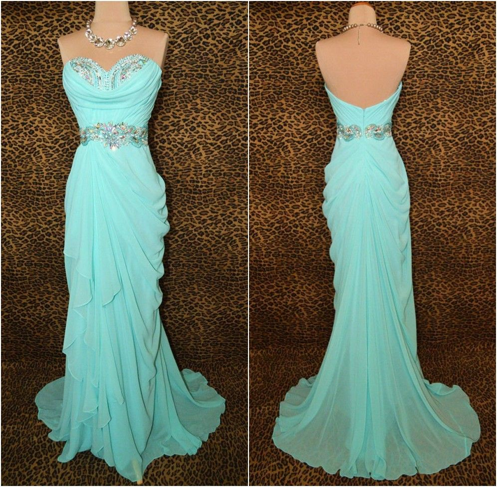 Custom Made Cheap Long Strapless Chiffon Prom Dress, Evening Dress ...