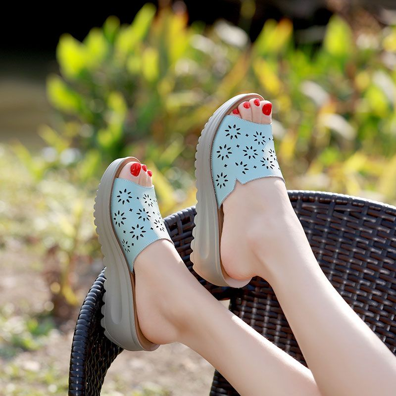 c2b26ec191fec7 Summer Style Wedges Women Slippers Genuine Leather Beach Slippers Hollow  Women Shoes Casual Slides Sandals