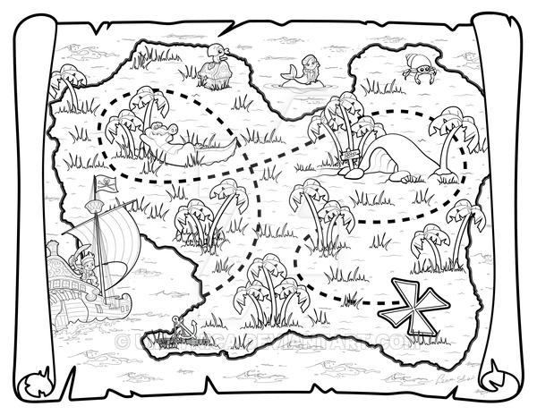 Kids Treasure Map coloring page & book for kids. | 464x600