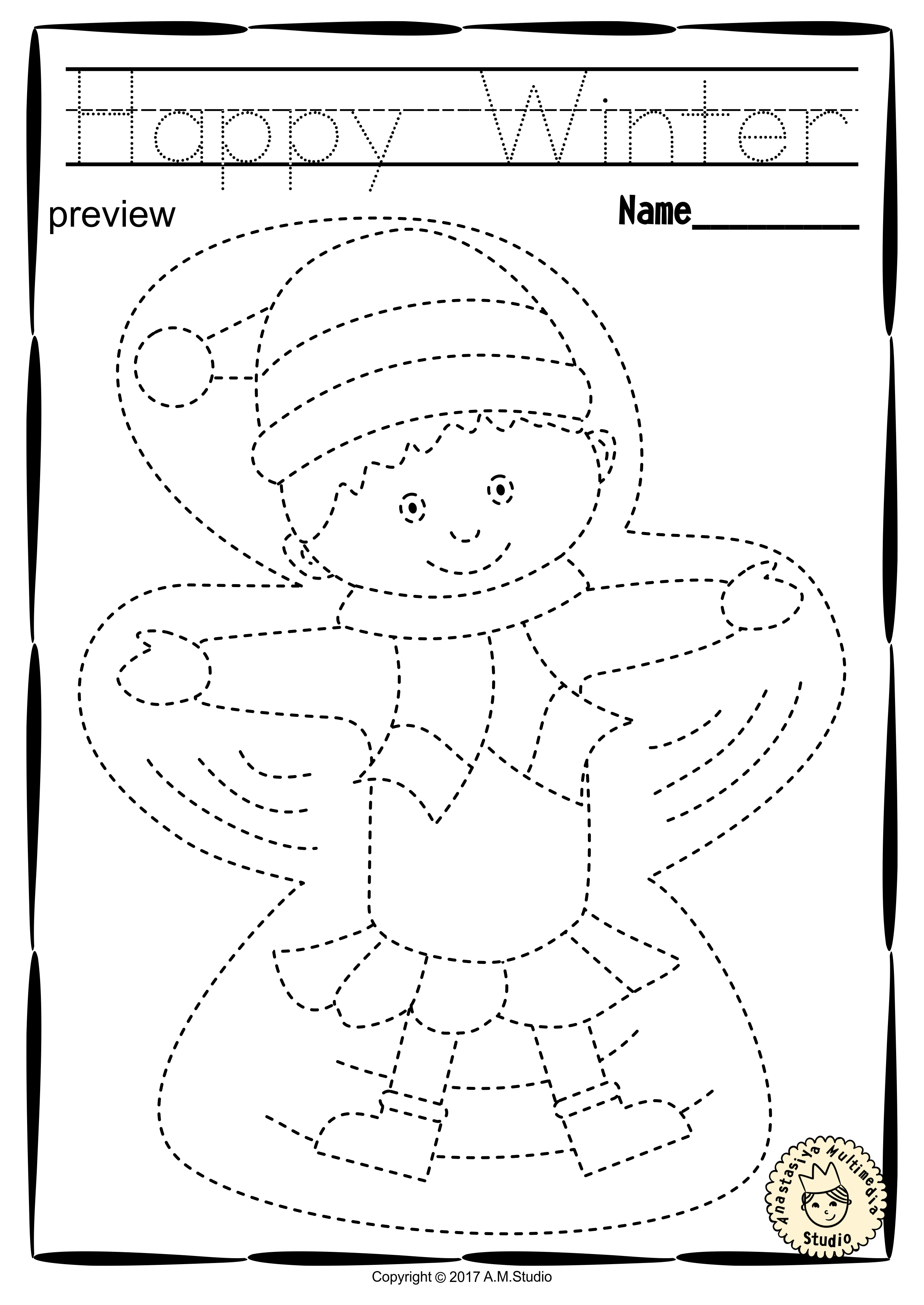 Winter Trace and Color Pages {Fine Motor Skills + Pre-writing ...