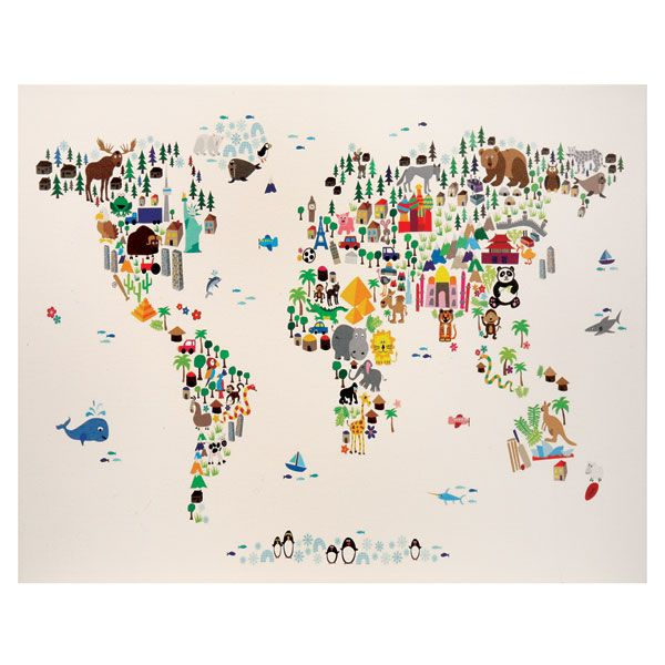 Gift for children or travel lovers illustrated world map canvas gift for children or travel lovers illustrated world map canvas by signals gumiabroncs Choice Image