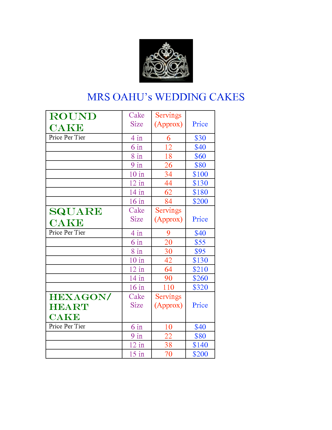 tiered cake pricing sheet cake sizes and servings chart baking