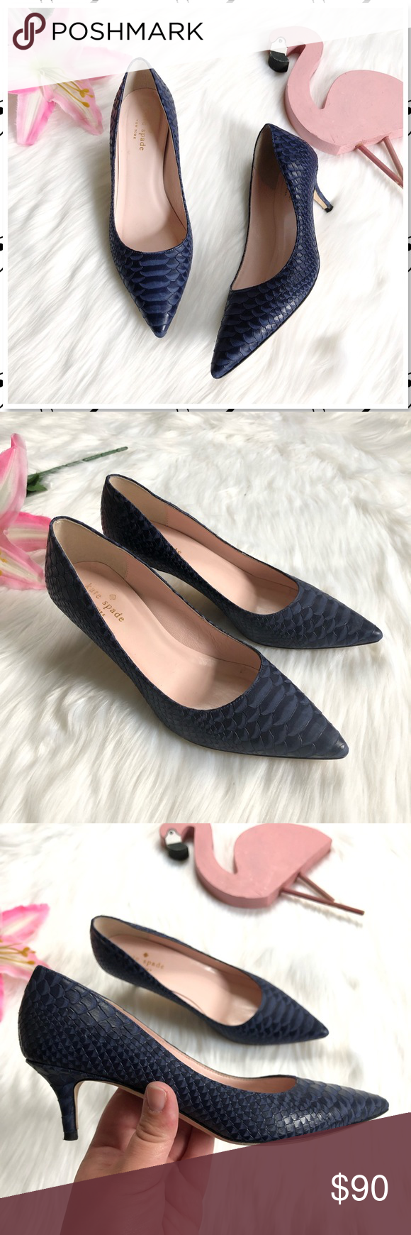 Kate Spade Melanie Kitten Heel Pumps Navy Kitten Heel Pumps Pumps Heels Heels