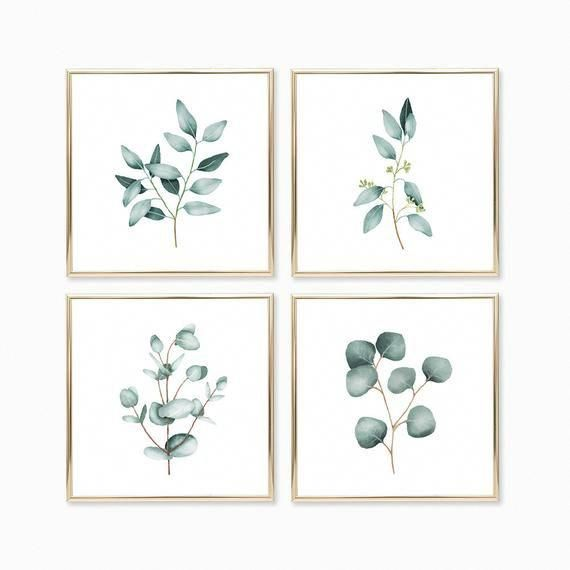 Photo of Eucalyptus Watercolor Print set of 4 Instant Art INSTANT DOWNLOAD Printable Wall Decor