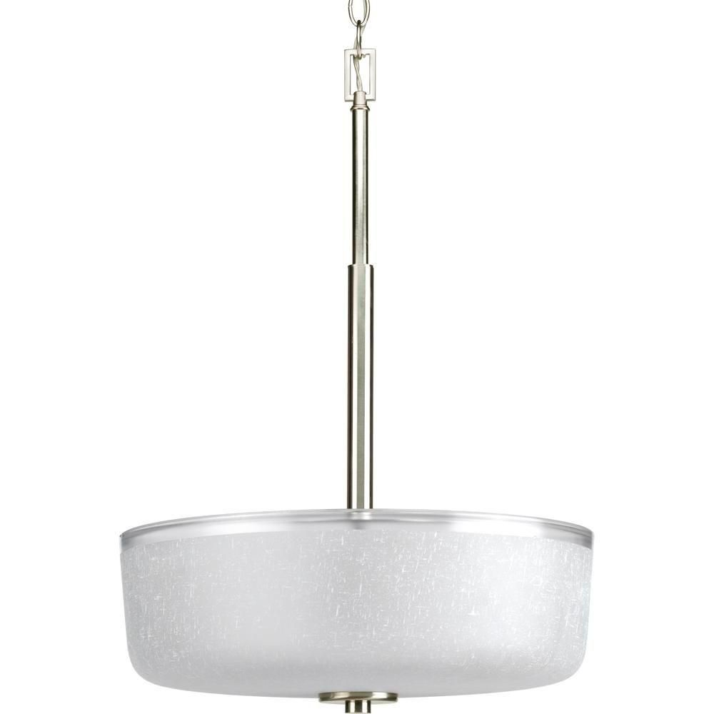 Progress Lighting Alexa Collection 3 Light Brushed Nickel Foyer Pendant With White Linen Glass P3846 09 Progress Lighting Brushed Nickel Chandelier Bowl Pendant