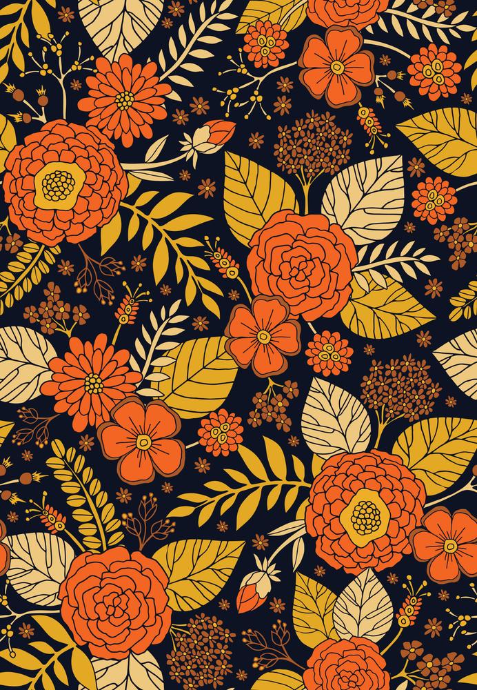 Retro Orange, Yellow, Brown, & Navy Floral Pattern Hand & Bath Towel by somecallmebeth