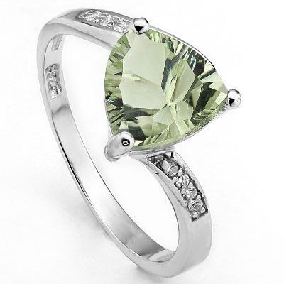 MARVELOUS 1.65 CARAT TW GREEN AMETHYST & CUBIC ZIRCONIA PLATINUM OVER 0.925 STERLING SILVER RING
