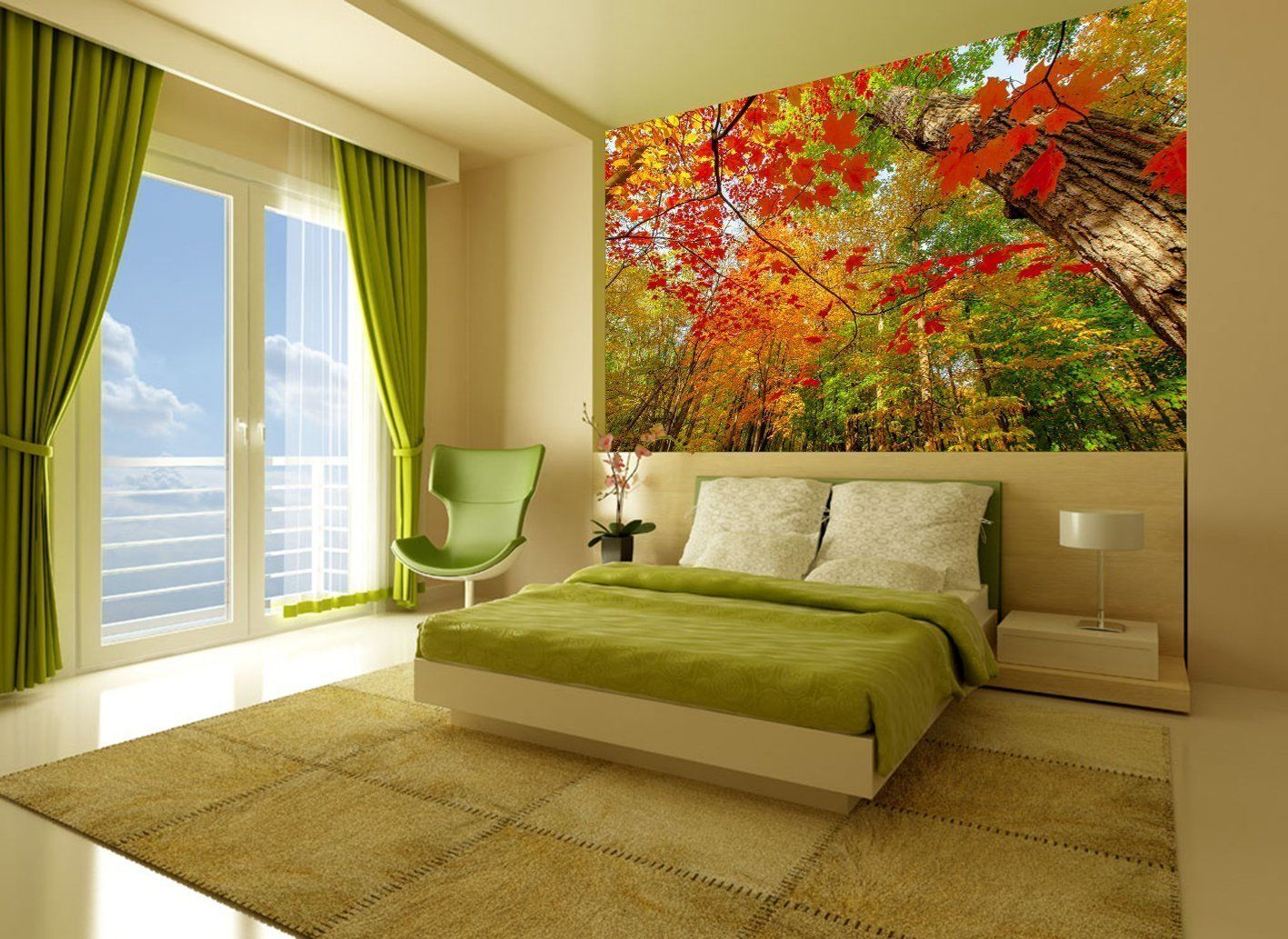 Startonight Mural Wall Art Photo Decor Beautiful Red Leaves in the ...