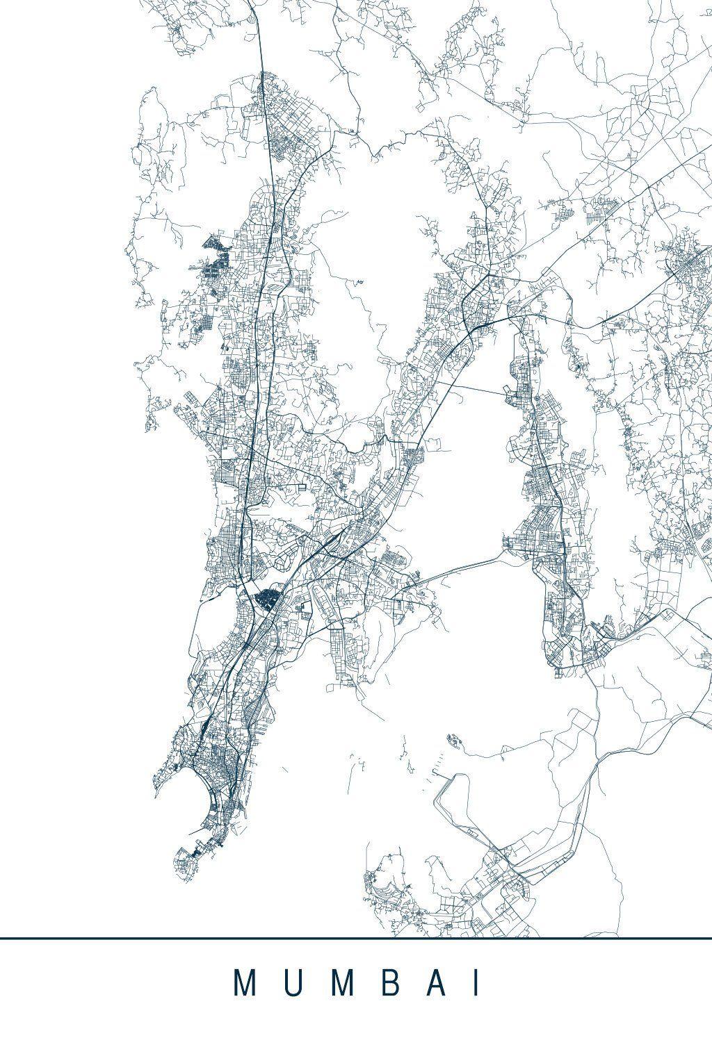 Karte Map Mumbai Indien India City Map Poster Mumbai Map