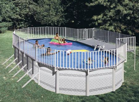 Above Ground Pool Deck Oval Pool Side Deck With Fence