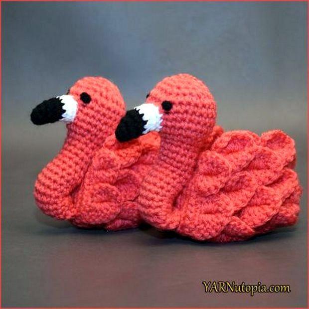 Unbelievably Cute Flamingo Baby Booties Free Crochet Pattern