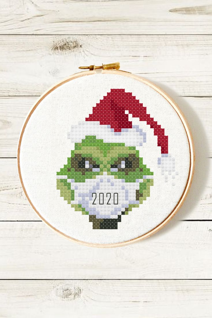 Grinch in face mask cross stitch pattern PDF • Corona virus Christmas 2020 •  Covid crossstitch