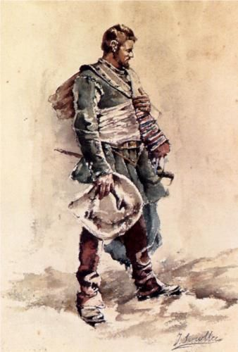 "Joaquín Sorolla  (1863-1923) - ""The Musketeer"" - Watercolor - Private Collection."