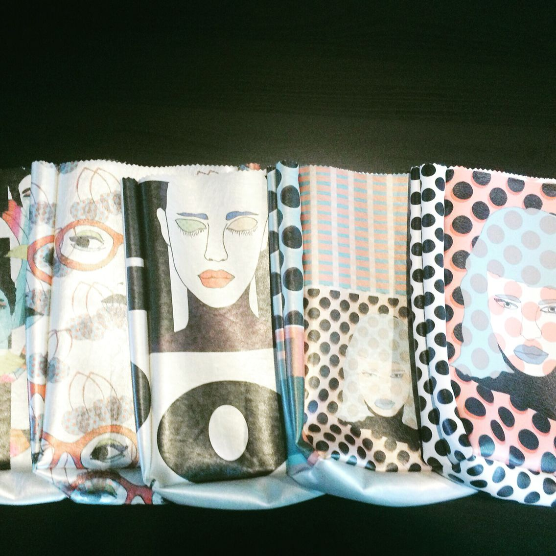 Lunch bag style handbags with my print.